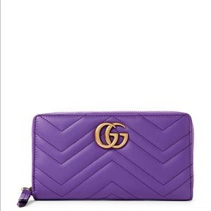 NBIB Gucci Quilted Purple Leather Wallet